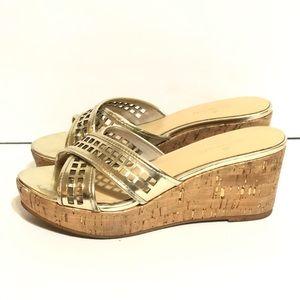 Kate Spade Gold Strap Slip-On Cork Wedges Mules